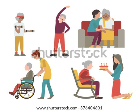 Flat character design of elderly man and woman with health care from volunteer and young people.  - stock vector