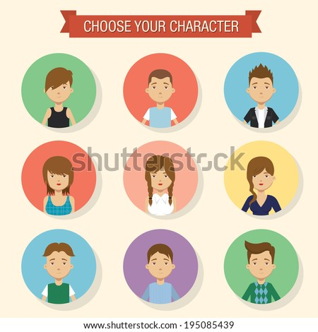 Flat character icons. Vector illustration - stock vector