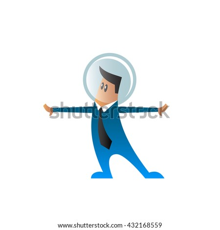 Flat character in a suit and tie with space helmet on his head. Cartoon office worker with his hands divorced in the sides. - stock vector