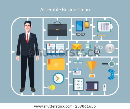 Flat character of assemble businessman concept illustrations - stock vector