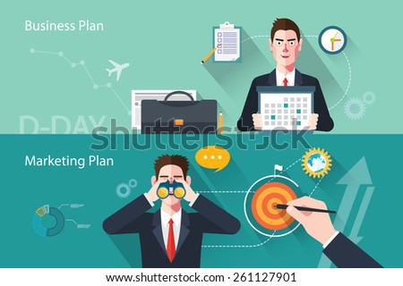 Flat characters of business plan concept illustrations - stock vector