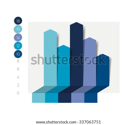 Flat chart, graph with shadows effect. Simply color editable. Infographics elements. - stock vector