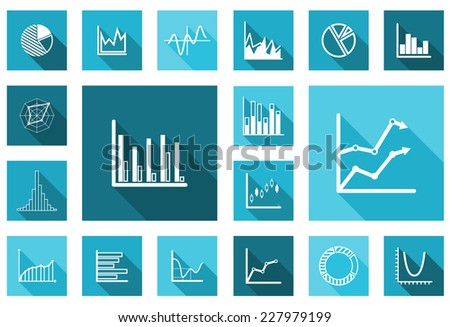 Flat charts and graphs set in different variations for business design - stock vector