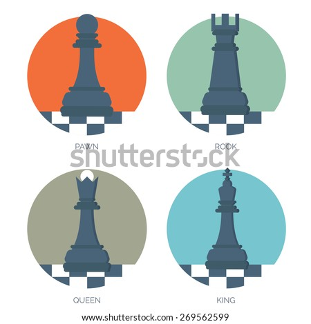 Flat chess figures. Strategy concept background. - stock vector