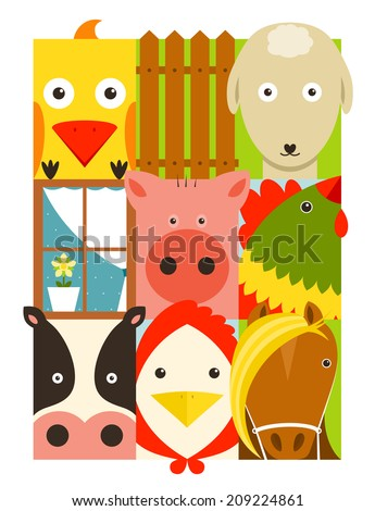 Flat Childish Rectangular Cattle Farm Animals Set. Animals design collection. Vector layered EPS8 illustration. - stock vector