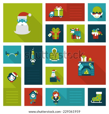 Flat Christmas and New Year icons. Santa, elf, deer, angel, fireplace, chimney, masquerade, coo coo clock. Holiday web icon collection. - stock vector