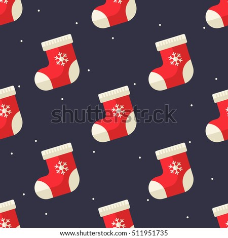 Flat Christmas shock seamless pattern