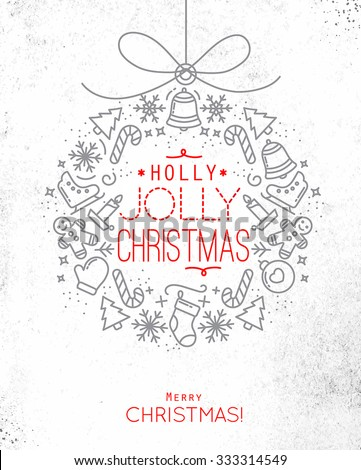 Flat Christmas tree toy card lettering holly jolly Christmas drawing with thin grey and red lines on dirty paper - stock vector