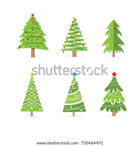 flat christmas trees flat design vector illustration - Flat Christmas Tree