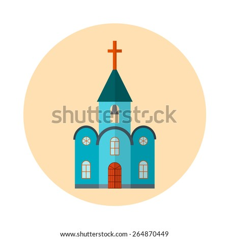 Flat church vector icon. Religion building christian illustration. Catholic faith architecture with cross. Isolated house with tower in blue color on yellow background. - stock vector