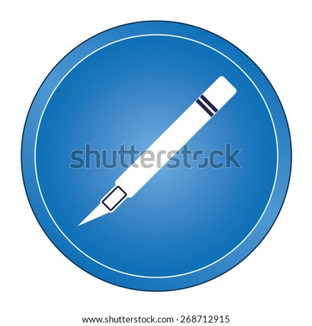 Flat circle blue vector icon with white silhouette cutting scalpel.  - stock vector