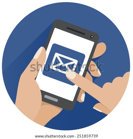 Flat circle icon sms mobile device - stock vector
