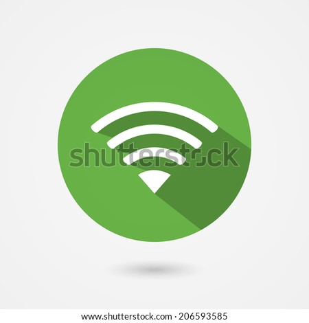 Flat circular green icon for a free public wifi connection for a laptop  phone or mobile device with a side shadow - stock vector