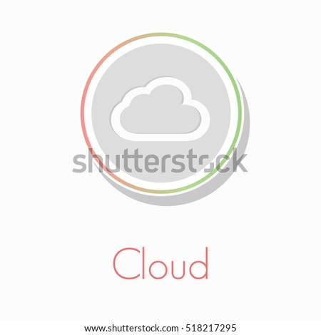 flat circular info graphic vector cloud icon with text