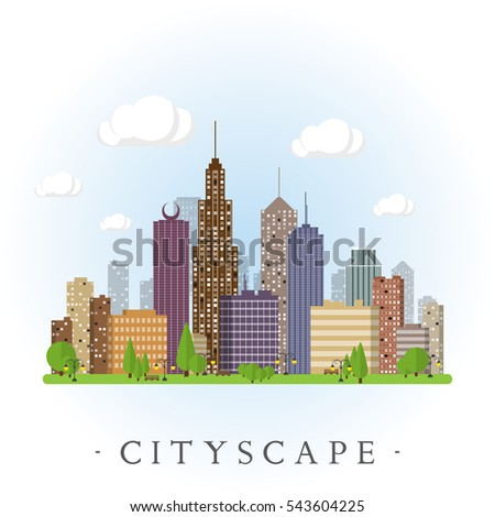 Flat cityscape background. Town architecture. Urban landscape illustration. Modern metropolis skyscraper silhouette.