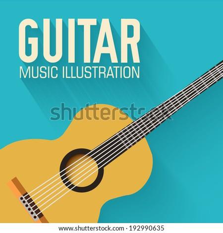 flat classic guitar vector background concept - stock vector