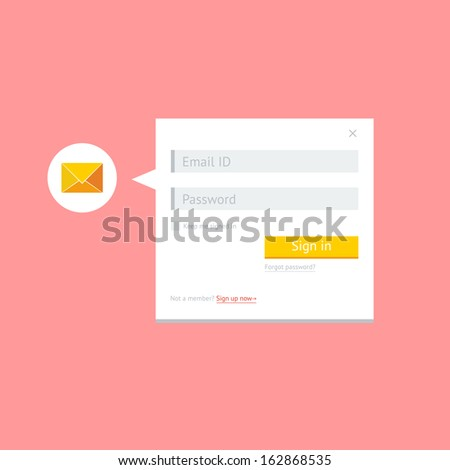 Flat clean email login form for web and mobile apps - stock vector