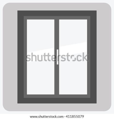 Flat- closed window - stock vector