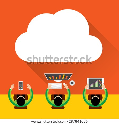 Flat cloud computing background. Data storage network technology, Digital Marketing Concept, Multimedia content and web sites hosting - stock vector