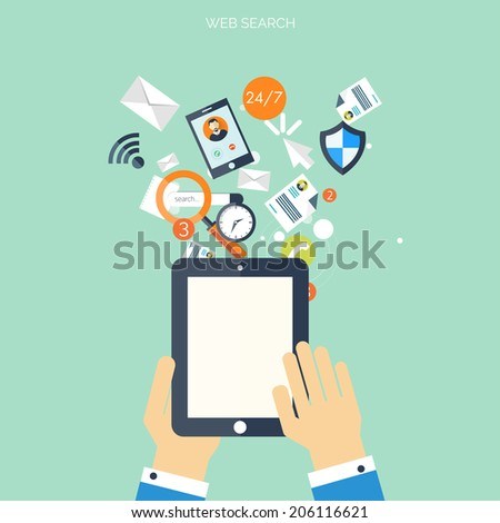 Flat cloud computing background. Data storage network technology. Multimedia content and web sites hosting. - stock vector