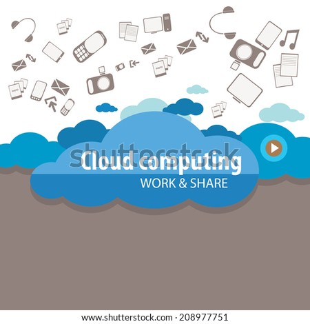 Flat cloud computing concept service - vector illustration - stock vector