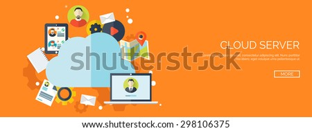 Flat cloud computing. Internet connection. Wireless network. Internet storage, data server. - stock vector