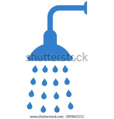 Shower vector icon. Shower icon symbol. Shower icon image. Shower icon picture. Shower pictogram. Flat cobalt shower icon. Isolated shower icon graphic. Shower icon illustration. - stock vector