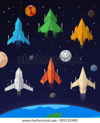 Flat collection of spaceship. Games spaceship. - stock vector