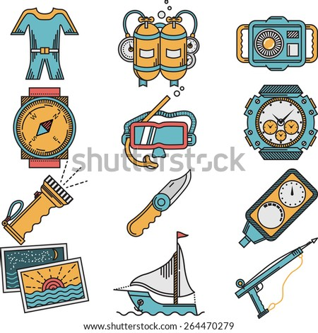 Flat color design icons vector collection for scuba diving equipment and objects on white background. - stock vector