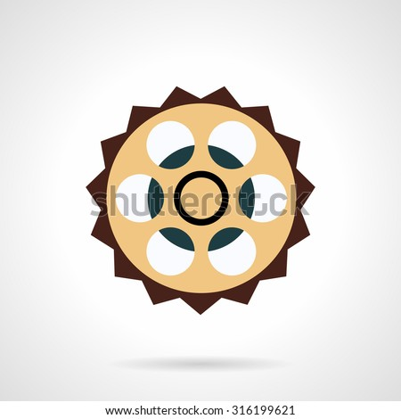 Flat color design sprocket vector icon. Bicycle spare parts, chain sprocket, crankset part. Web design elements. - stock vector