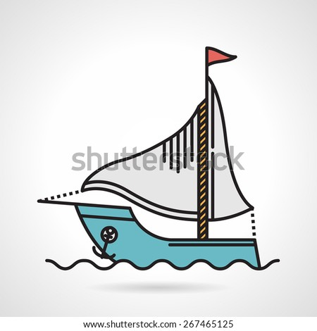 Flat color design vector icon for blue yacht with gray sail and anchor floating on the wave. - stock vector