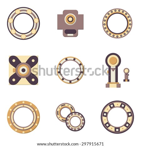 Flat color design vector icons for set of different types bearings. Ball, radial, roller and other types bearings for mechanism components - stock vector
