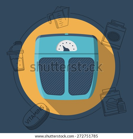 Flat color design vector illustration with round yellow icon for blue floor scales and gray contour sport supplements around on blue background. Long shadow design. - stock vector