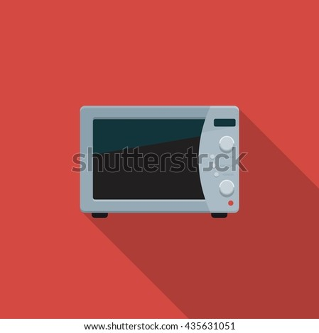 Flat color icon kitchen microwave. Vector illustration - stock vector