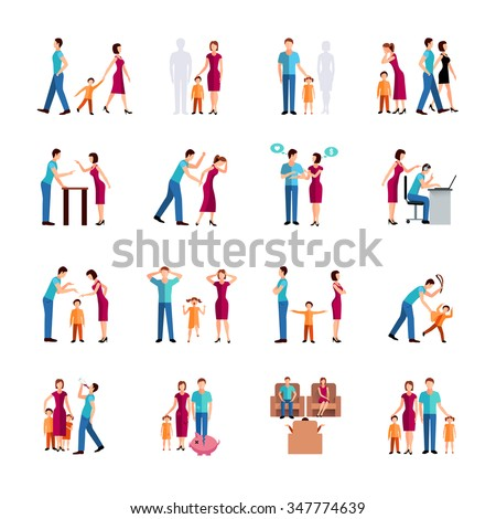 Flat color icons set depicting family problems of parents and children isolated vector illustration - stock vector