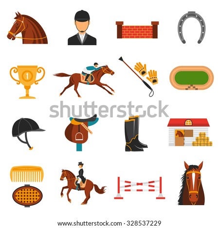 Flat color icons set with equipment for  horse riding isolated vector illustration. - stock vector