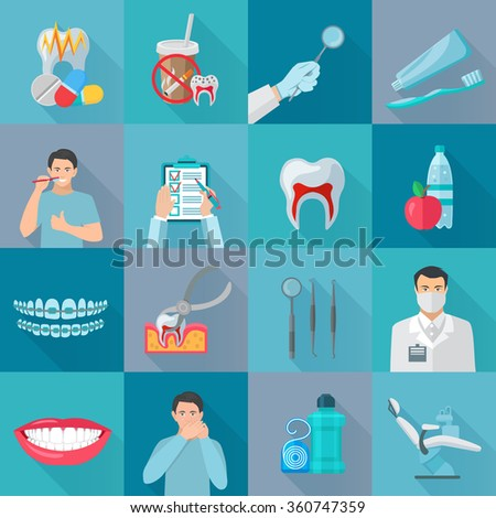 Flat color shadow dental icons set with instruments for teeth treatment and hygiene products isolated vector illustration - stock vector