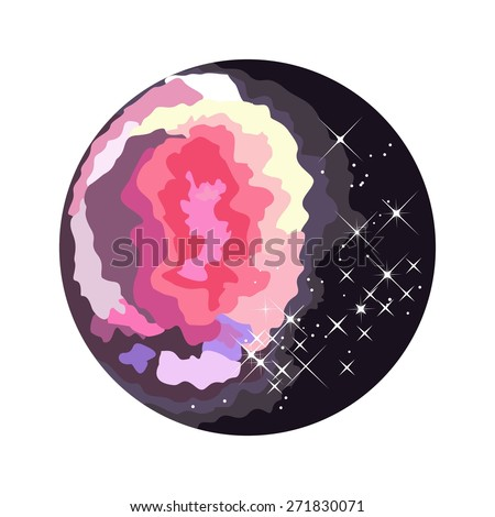 Flat color space round icon with Nebula and Constellation. Cosmic theme. - stock vector