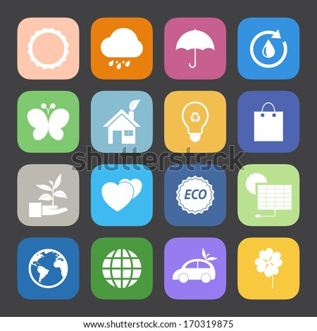 Flat Color style Eco icons vector set.