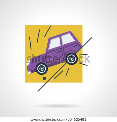 Flat color vector icon for sliding car off a road. Design element for business, logo and website. - stock vector