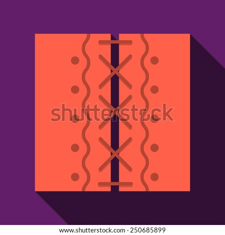 Flat color vector icon for stitched two red patches on purple background. Long shadow design - stock vector