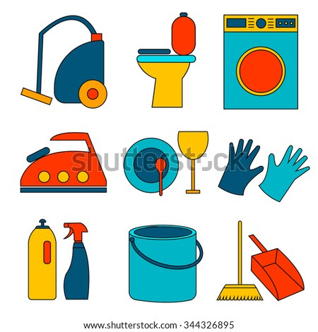 Flat colored icon of cleaning service for web banners, web sites, infographics. Vector template for professional cleaning company. - stock vector