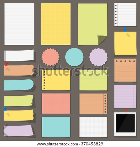 Flat colored paper notes, stickers and labels, vector eps10 illustration - stock vector
