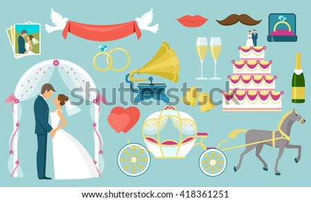 Flat colored wedding icon set with isolated figures of bride and groom and wedding attributes vector illustration