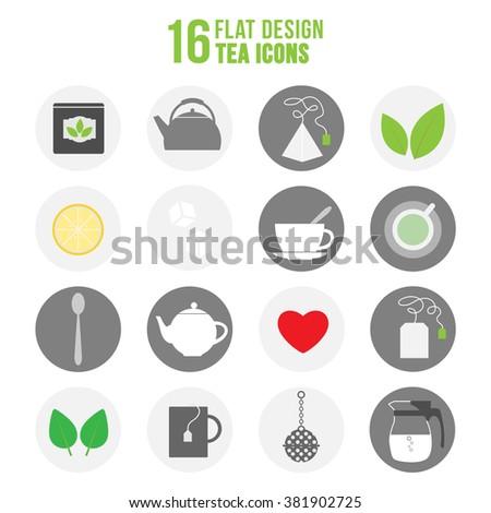 Flat colorful design tea icons set. Illustration of colorful set of tea icons - stock vector
