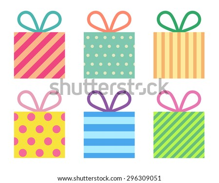 Flat colorful gift boxes