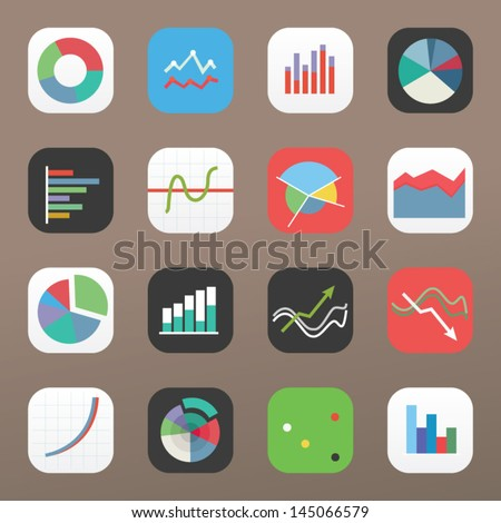 Flat colorful graph icons on light background - stock vector