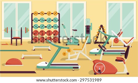 Flat colorful gym. - stock vector