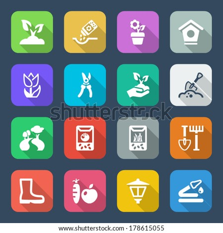 flat colorful icons set for gardening & agriculture, isolated with shadow - stock vector