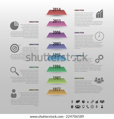 Flat colorful timeline infographics vector with stairs